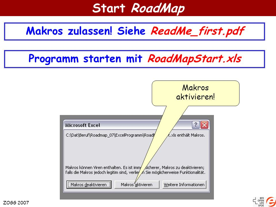 Start RoadMap Makros zulassen! Siehe ReadMe_first.pdf Programm starten mit RoadMapStart.xls Makros aktivieren! ZOGG 2007