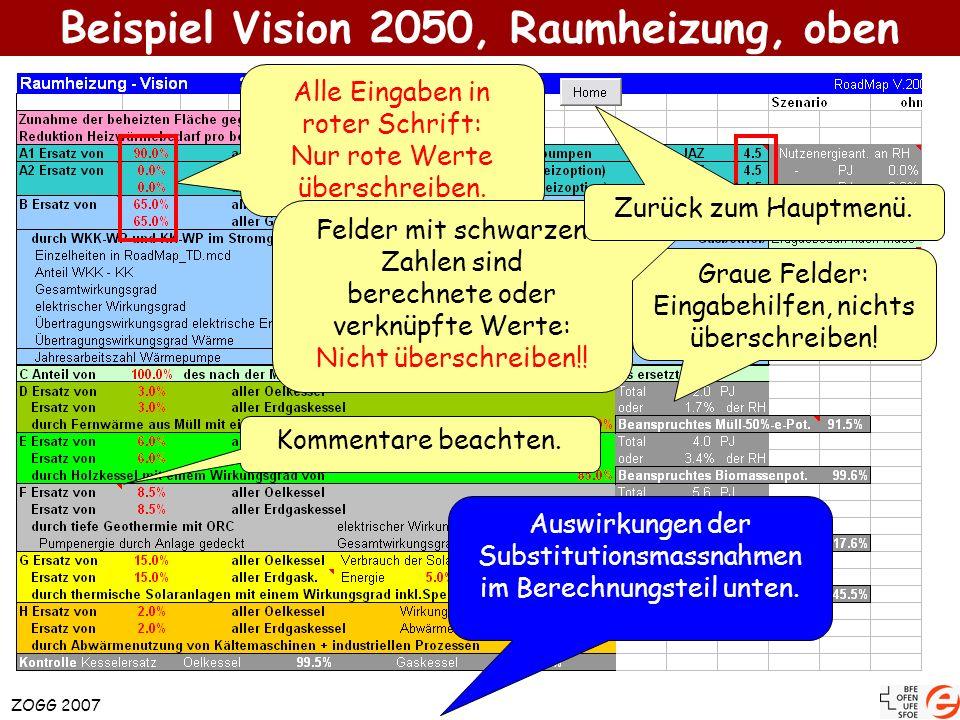 ZOGG 2007 Beispiel Vision 2050, Raumheizung, oben Alle Eingaben in roter Schrift: Nur rote Werte überschreiben. Graue Felder: Eingabehilfen, nichts üb