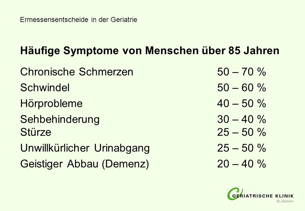 Häufige Symptome von Menschen über 85 Jahren Chronische Schmerzen50 – 70 % Schwindel50 – 60 % Hörprobleme40 – 50 % Sehbehinderung30 – 40 % Stürze25 –