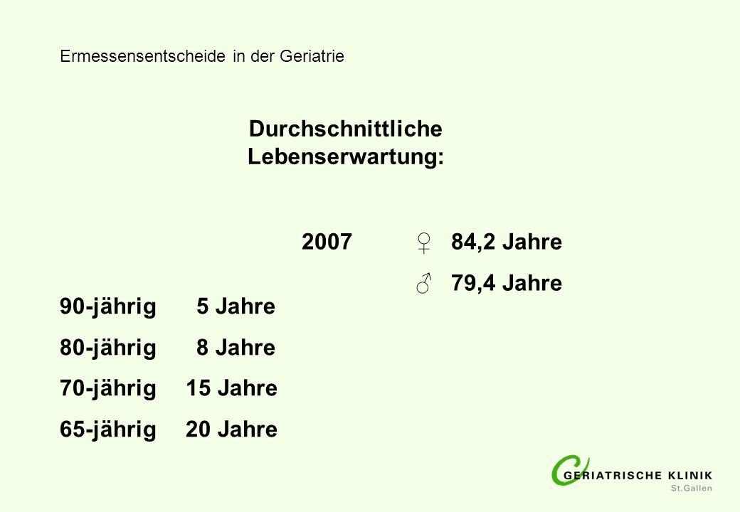 Ermessensentscheide in der Geriatrie Alterskategorien Young old65 – 74 Jahre Older old75 – 84 Jahre Oldest old85 –