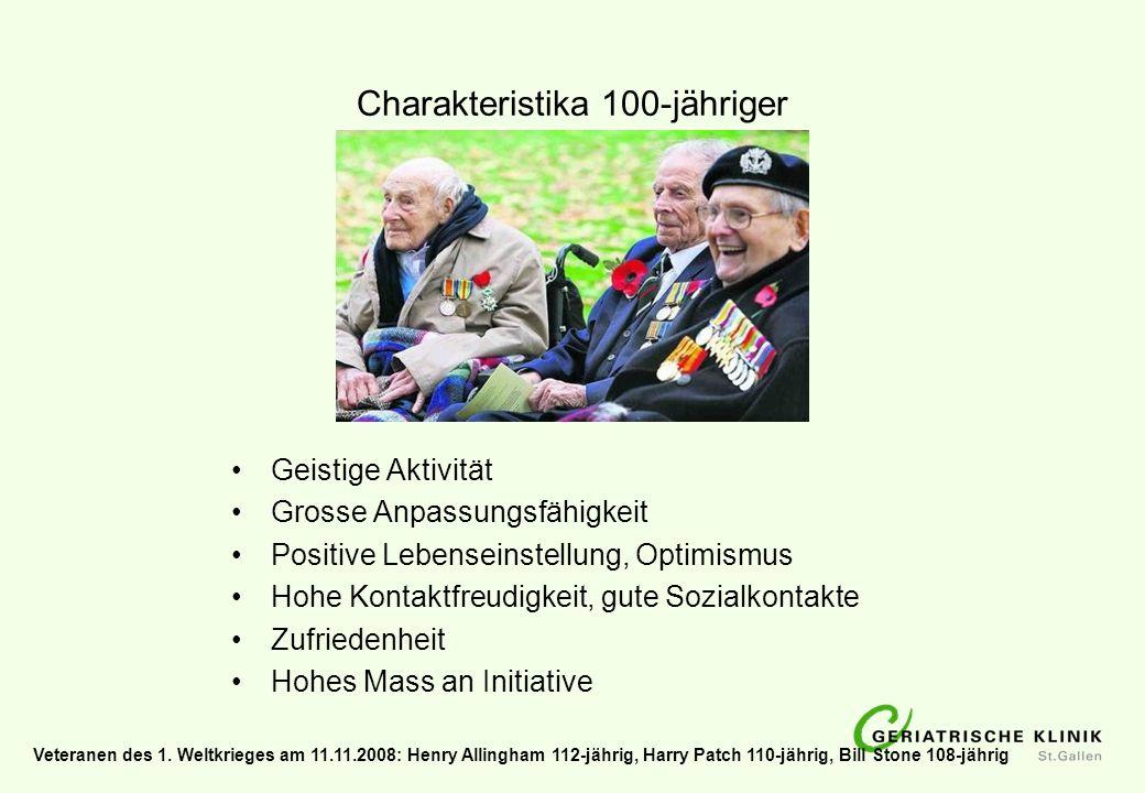 Charakteristika 100-jähriger Geistige Aktivität Grosse Anpassungsfähigkeit Positive Lebenseinstellung, Optimismus Hohe Kontaktfreudigkeit, gute Sozial