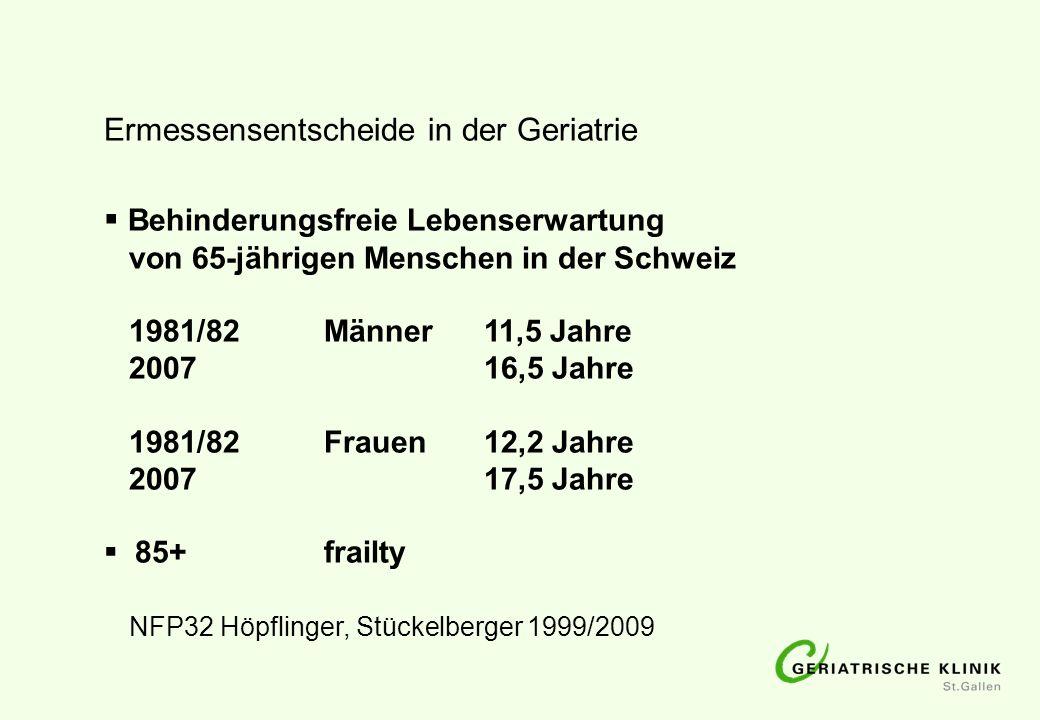 Behinderungsfreie Lebenserwartung von 65-jährigen Menschen in der Schweiz 1981/82Männer11,5 Jahre 200716,5 Jahre 1981/82Frauen12,2 Jahre 200717,5 Jahr
