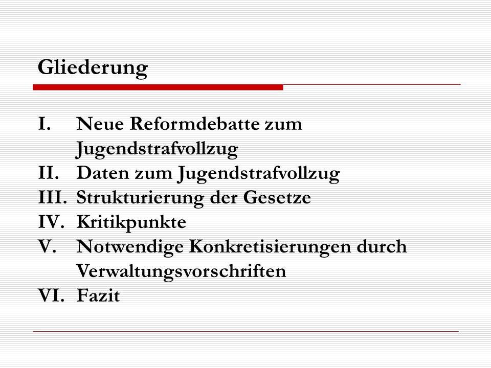 I.Neue Reformdebatte zum Jugendstrafvollzug II.Daten zum Jugendstrafvollzug III.Strukturierung der Gesetze IV.Kritikpunkte V.Notwendige Konkretisierun