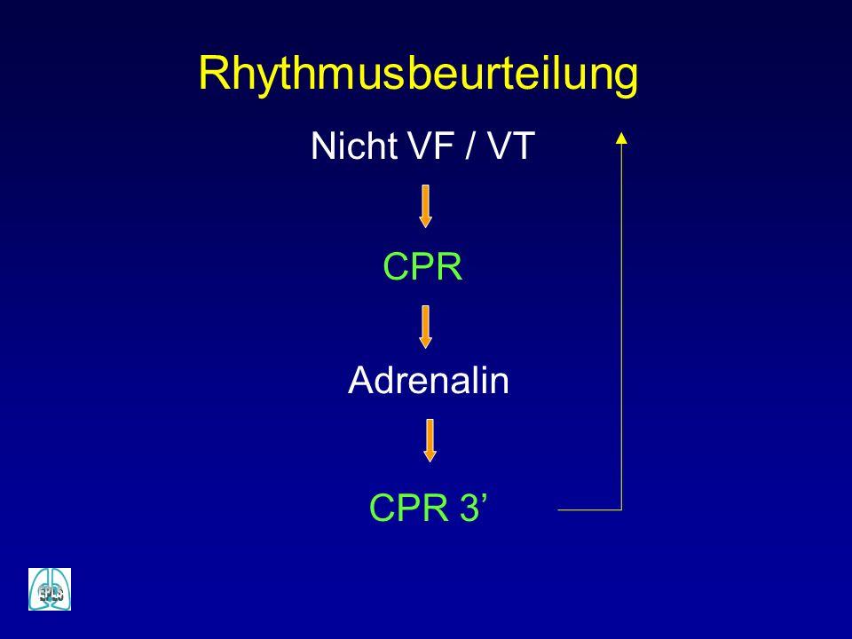 Rhythmusbeurteilung Nicht VF / VT Adrenalin CPR 3 CPR