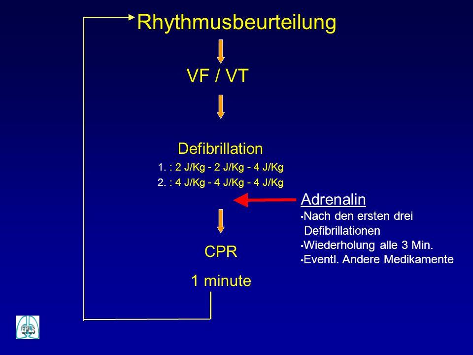 Defibrillation 1. : 2 J/Kg - 2 J/Kg - 4 J/Kg 2. : 4 J/Kg - 4 J/Kg - 4 J/Kg CPR 1 minute VF / VT Rhythmusbeurteilung Adrenalin Nach den ersten drei Def