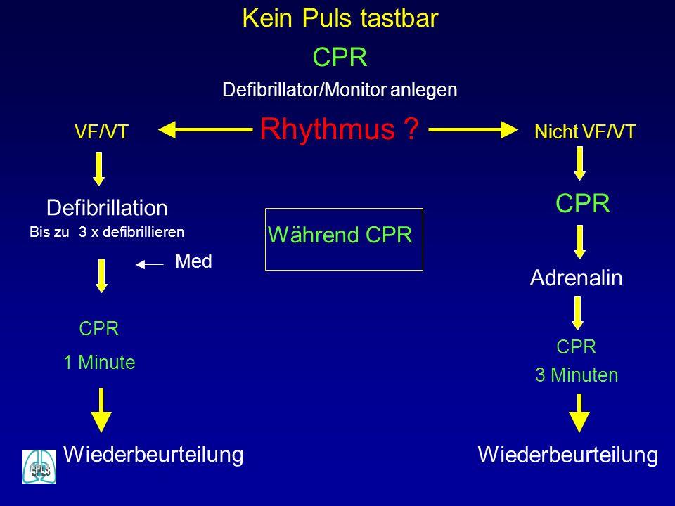 Kein Puls tastbar CPR Defibrillator/Monitor anlegen Rhythmus ? Defibrillation Bis zu 3 x defibrillieren CPR 1 Minute VF/VT Adrenalin Nicht VF/VT CPR 3