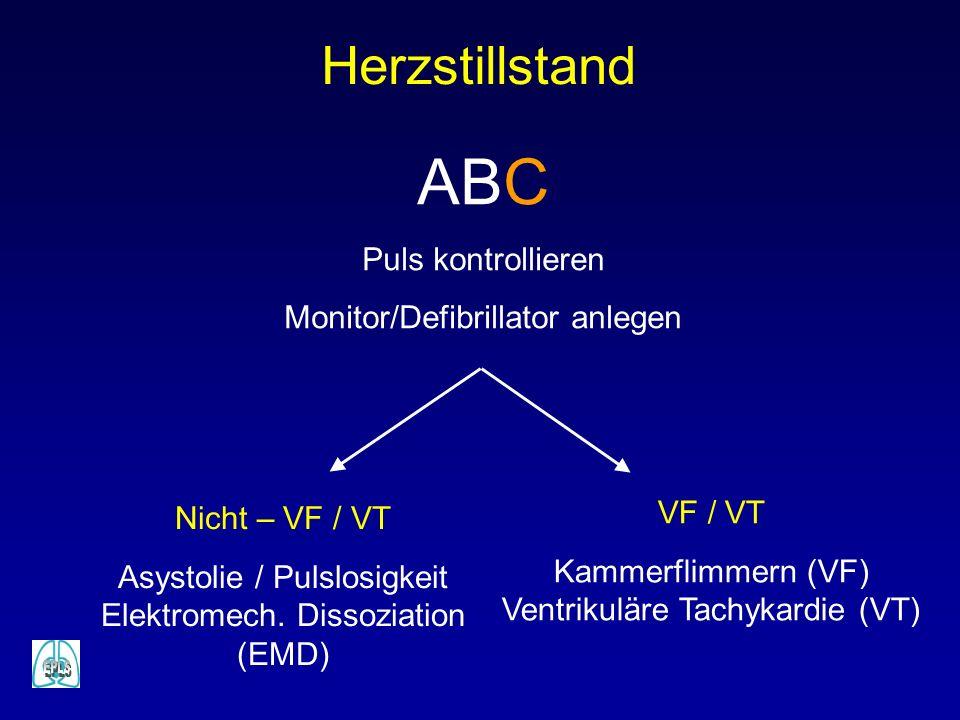 Herzstillstand ABC Puls kontrollieren Monitor/Defibrillator anlegen VF / VT Kammerflimmern (VF) Ventrikuläre Tachykardie (VT) Nicht – VF / VT Asystolie / Pulslosigkeit Elektromech.