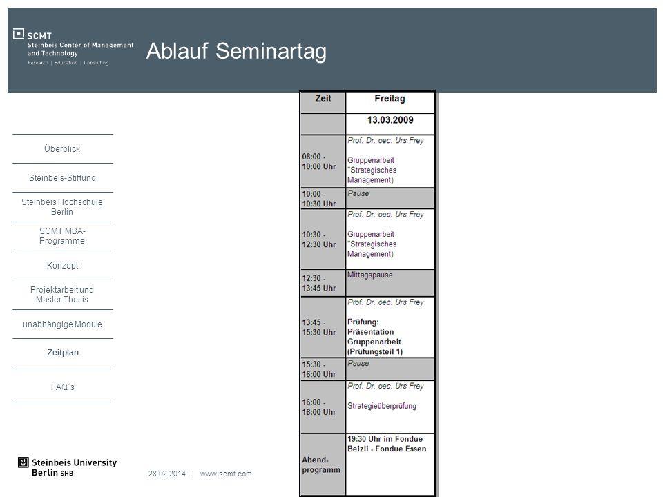28.02.2014 | www.scmt.com unabhängige Module Zeitplan Projektarbeit und Master Thesis Konzept SCMT MBA- Programme Steinbeis Hochschule Berlin Steinbeis-Stiftung Überblick FAQ`s Ablauf Seminartag Zeitplan