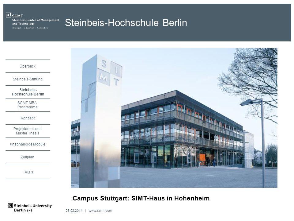 28.02.2014 | www.scmt.com unabhängige Module Zeitplan Projektarbeit und Master Thesis Konzept SCMT MBA- Programme Steinbeis Hochschule Berlin Steinbei