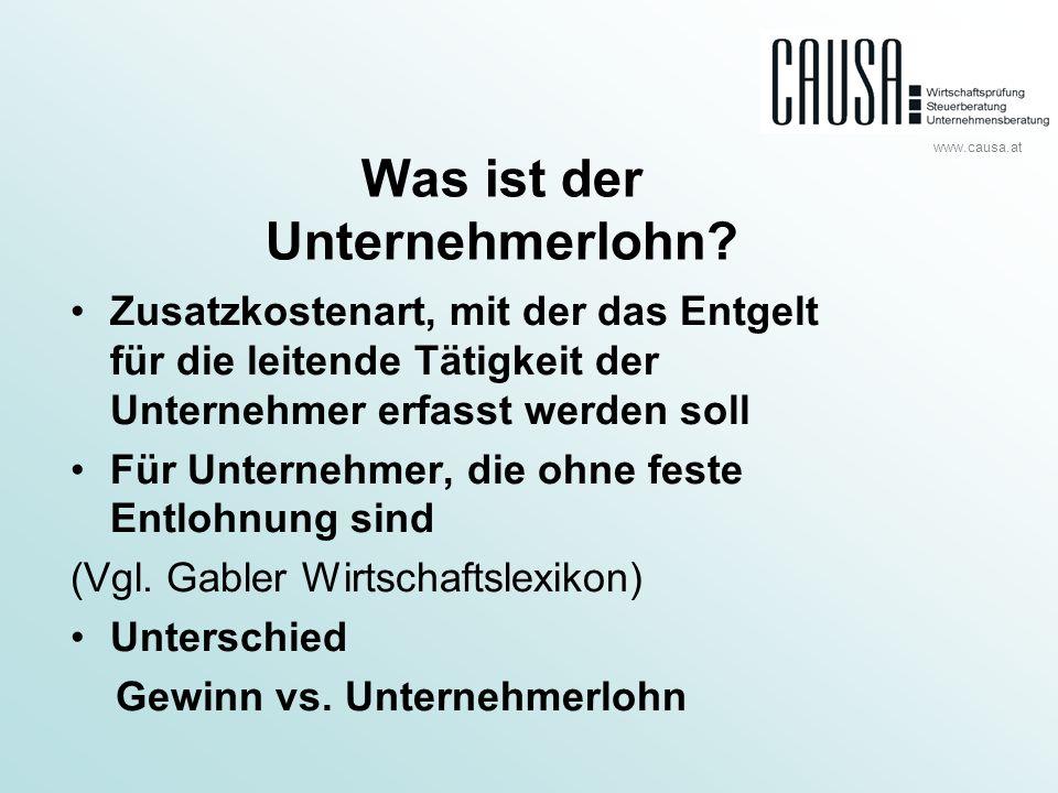 www.causa.at Kalkulation Annahme: UnternehmerIn arbeitet 45 Std.