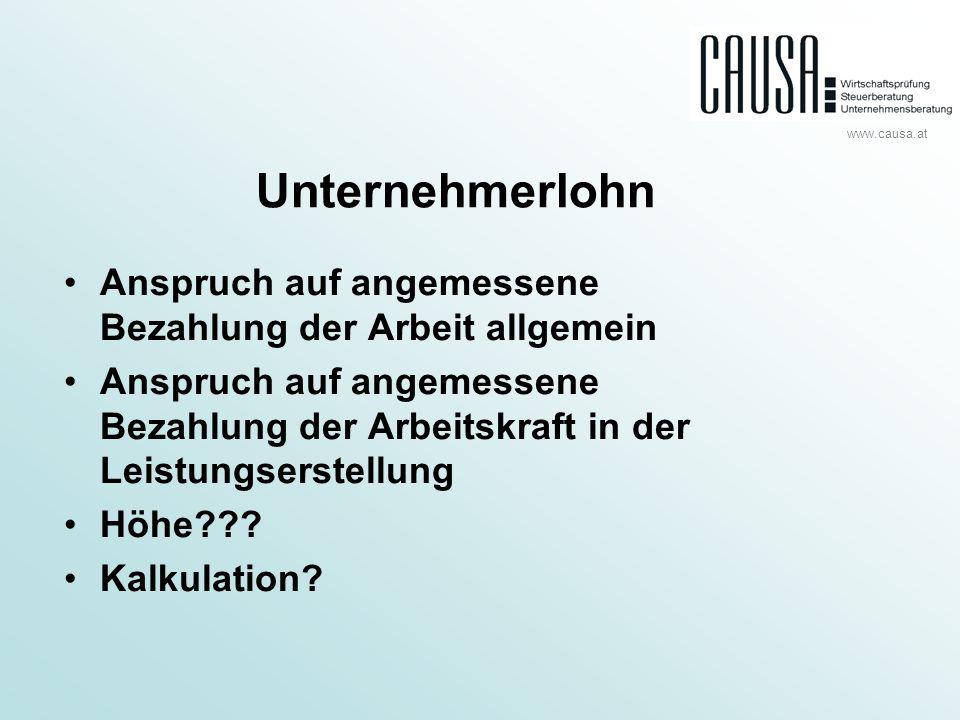 www.causa.at Kalkulation Gewinn 50 Tsd.Kalk. Unternehmerlohn (2.160 Std.