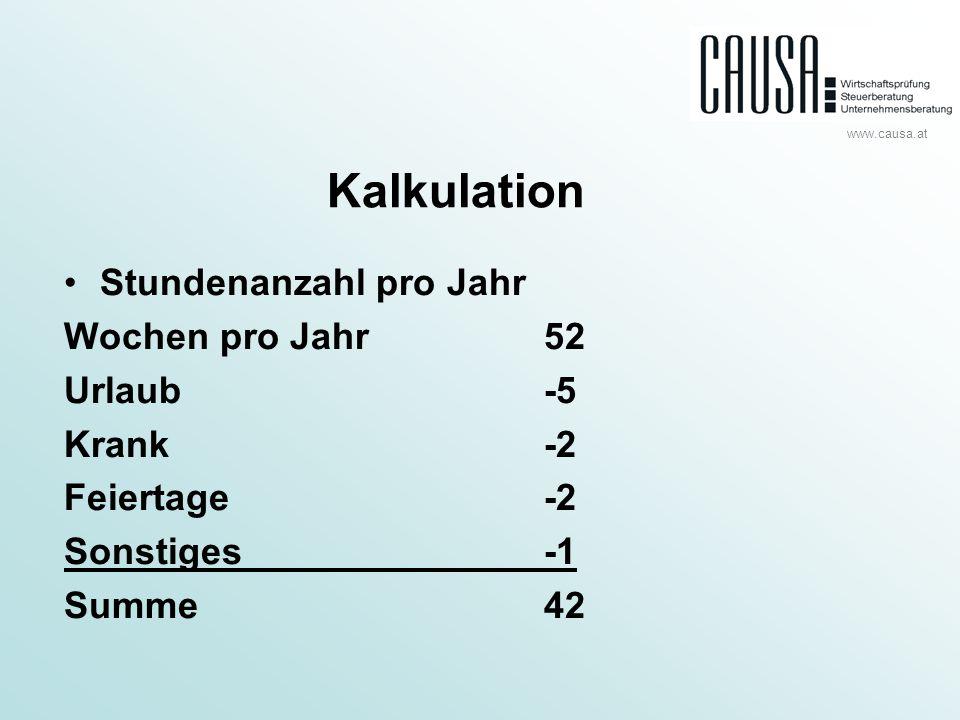 www.causa.at Kalkulation Stundenanzahl pro Jahr Wochen pro Jahr52 Urlaub-5 Krank-2 Feiertage-2 Sonstiges-1 Summe42