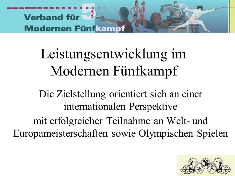 Leistungsentwicklung im Modernen Fünfkampf Die Zielstellung orientiert sich an einer internationalen Perspektive mit erfolgreicher Teilnahme an Welt- und Europameisterschaften sowie Olympischen Spielen
