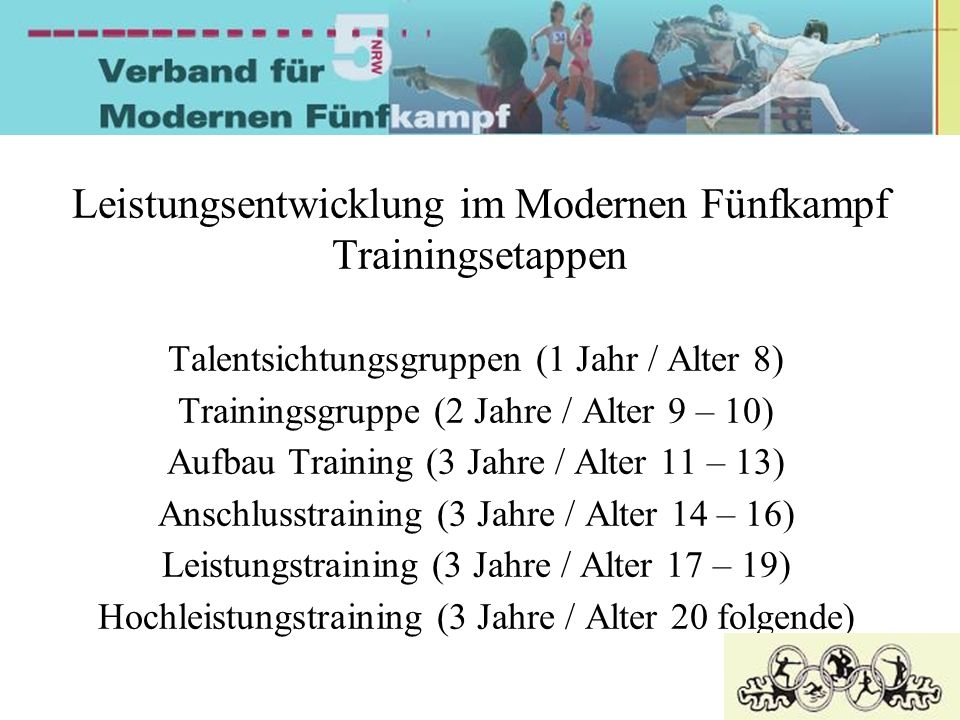 Leistungsentwicklung im Modernen Fünfkampf Trainingsetappen Talentsichtungsgruppen (1 Jahr / Alter 8) Trainingsgruppe (2 Jahre / Alter 9 – 10) Aufbau Training (3 Jahre / Alter 11 – 13) Anschlusstraining (3 Jahre / Alter 14 – 16) Leistungstraining (3 Jahre / Alter 17 – 19) Hochleistungstraining (3 Jahre / Alter 20 folgende)