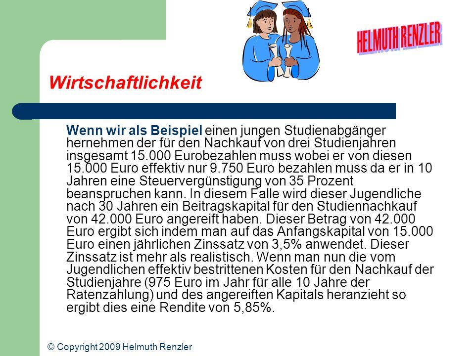 Wirtschaftlichkeit Wenn wir als Beispiel einen jungen Studienabgänger hernehmen der für den Nachkauf von drei Studienjahren insgesamt 15.000 Eurobezah