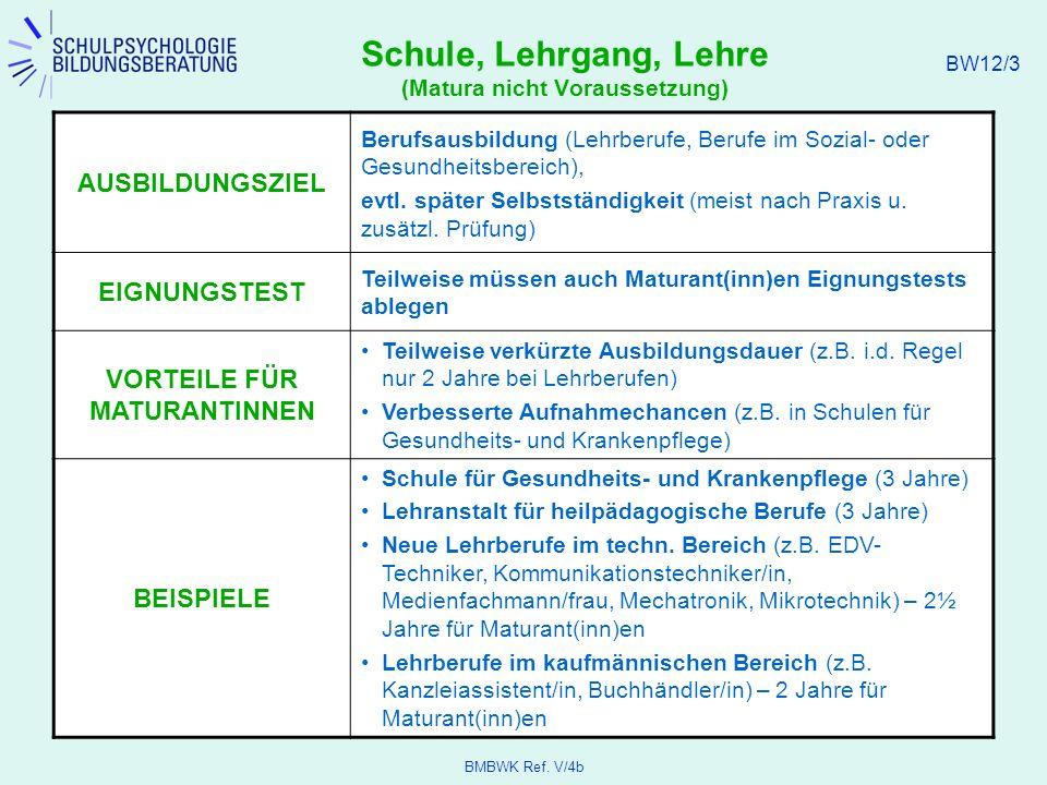 BMBWK Ref.V/4b BW12/4 Betriebliche Ausbildung AUSBILDUNGSORT Betrieb bzw.