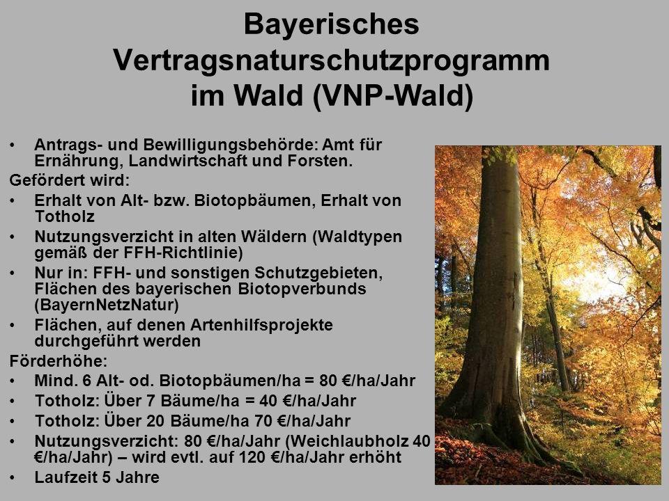Bayerisches Vertragsnaturschutzprogramm im Wald (VNP-Wald) Antrags- und Bewilligungsbehörde: Amt für Ernährung, Landwirtschaft und Forsten. Gefördert