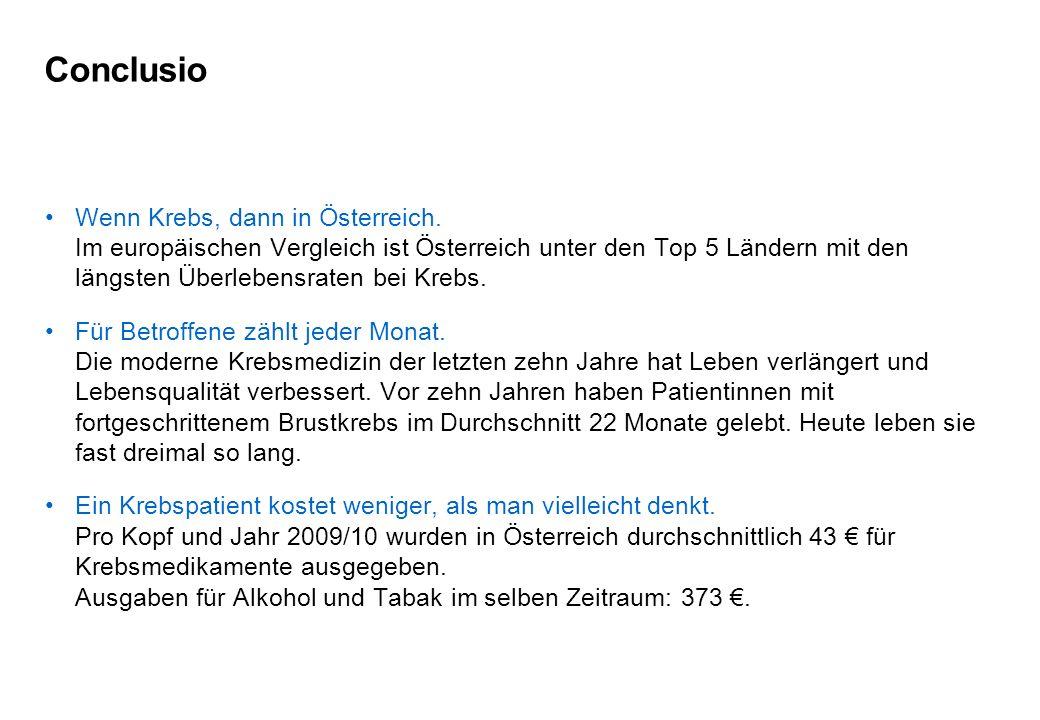 Conclusio Wenn Krebs, dann in Österreich.