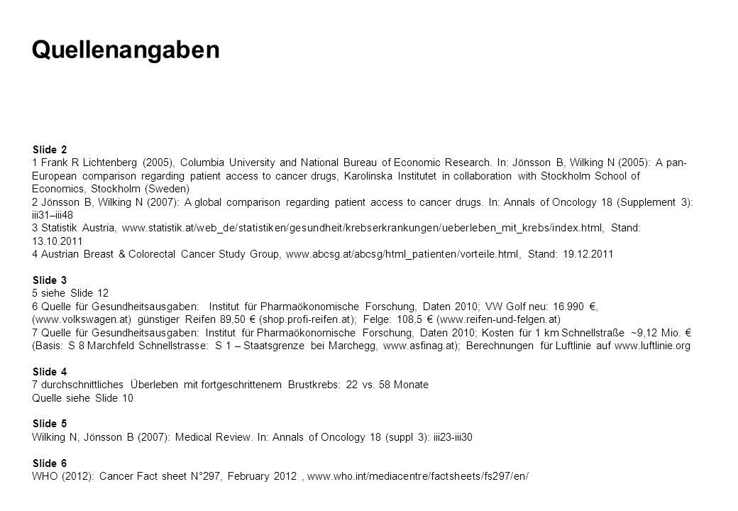 Quellenangaben Slide 2 1 Frank R Lichtenberg (2005), Columbia University and National Bureau of Economic Research. In: Jönsson B, Wilking N (2005): A