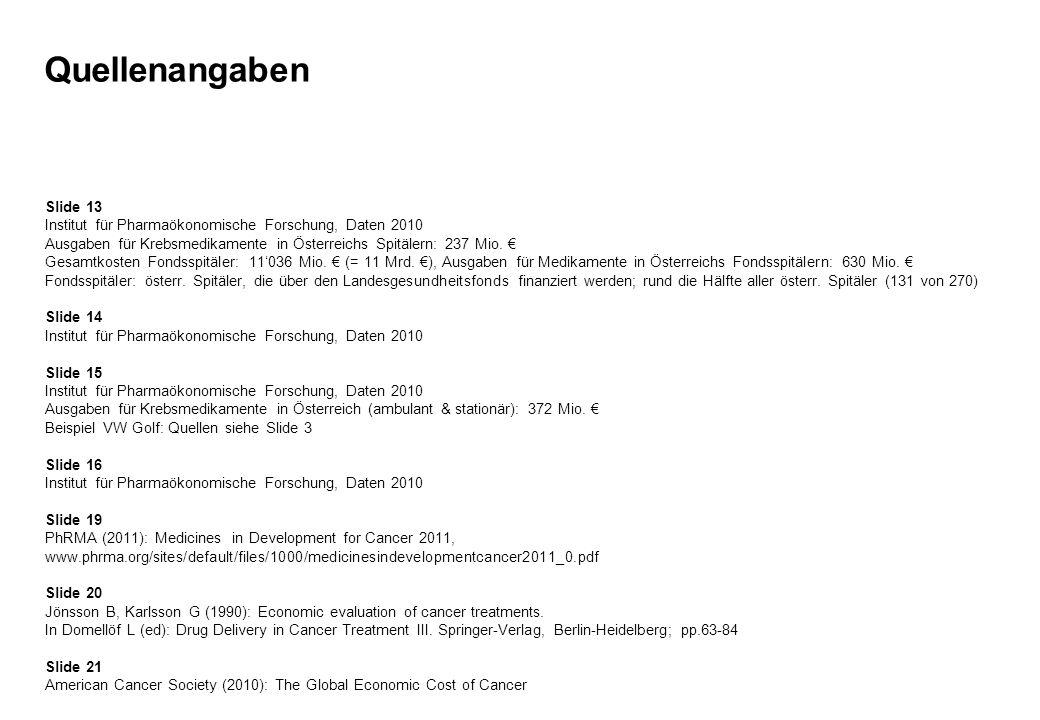 Quellenangaben Slide 13 Institut für Pharmaökonomische Forschung, Daten 2010 Ausgaben für Krebsmedikamente in Österreichs Spitälern: 237 Mio. Gesamtko