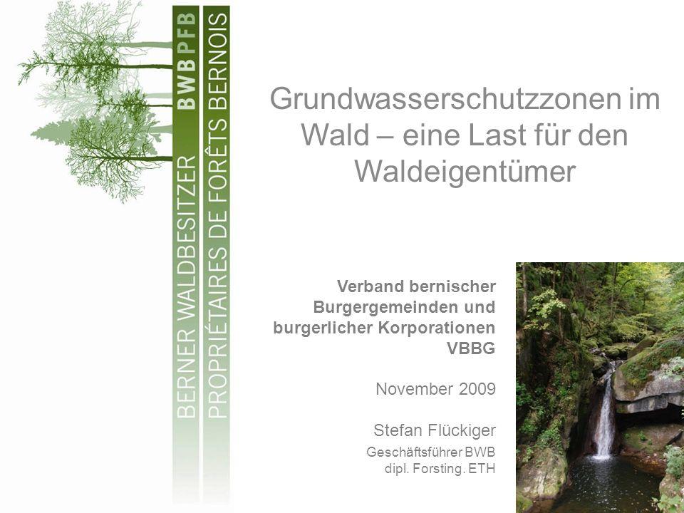 Grundwasserschutzzonen im Wald – eine Last für den Waldeigentümer Verband bernischer Burgergemeinden und burgerlicher Korporationen VBBG November 2009 Stefan Flückiger Geschäftsführer BWB dipl.