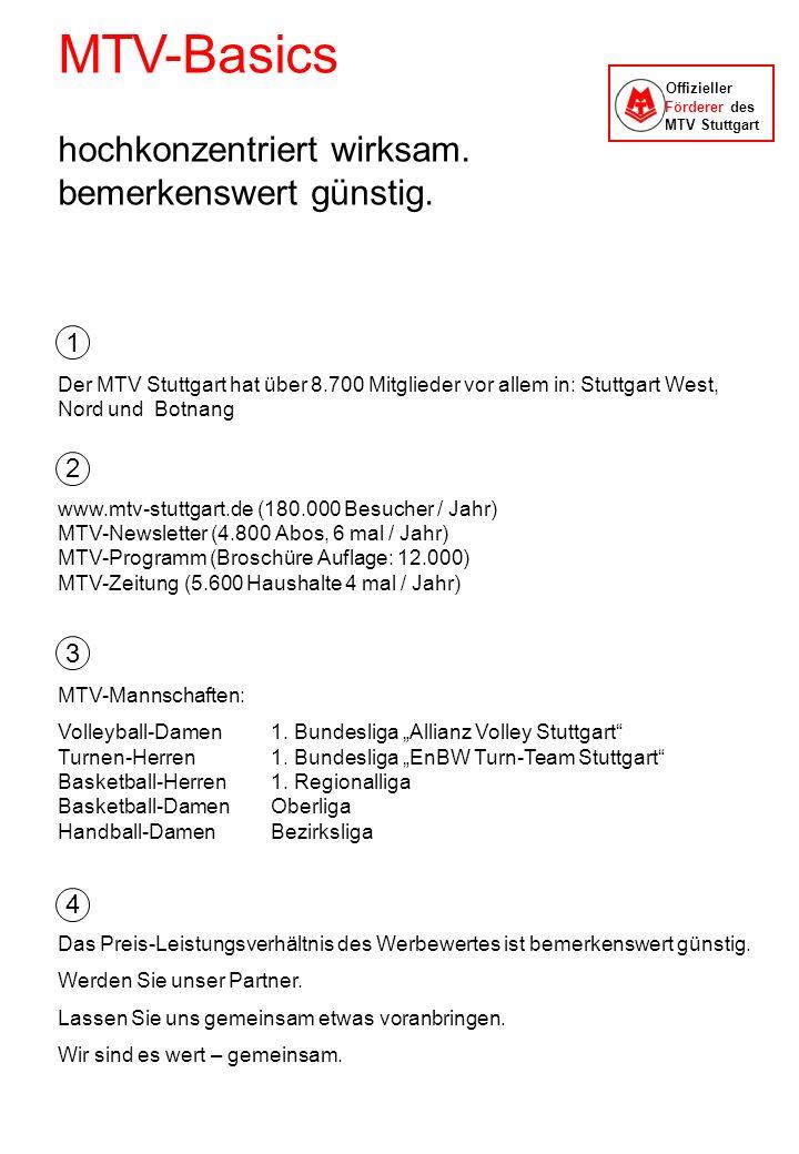 MTV-Basics hochkonzentriert wirksam. bemerkenswert günstig. Der MTV Stuttgart hat über 8.700 Mitglieder vor allem in: Stuttgart West, Nord und Botnang