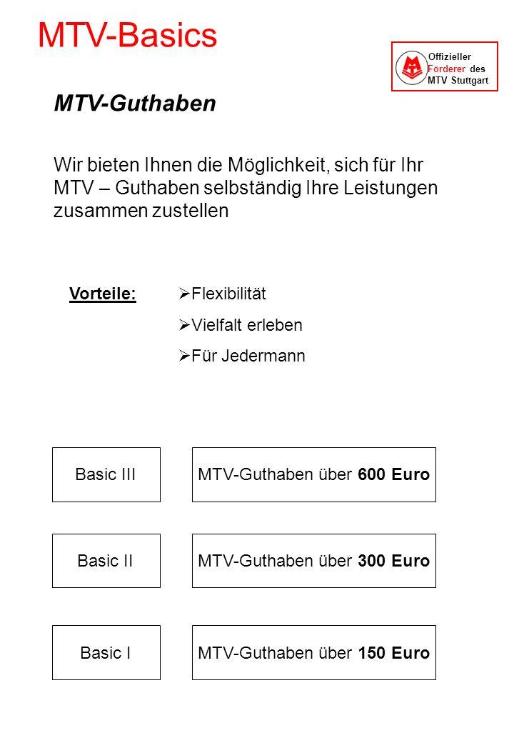 MTV-Basics Offizieller Förderer des MTV Stuttgart MTV-Guthaben Wir bieten Ihnen die Möglichkeit, sich für Ihr MTV – Guthaben selbständig Ihre Leistung