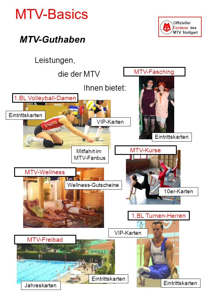 MTV-Basics Offizieller Förderer des MTV Stuttgart Leistungen, die der MTV Ihnen bietet: Eintrittskarten VIP-Karten Mitfahrt im MTV-Fanbus 1.BL Turnen-