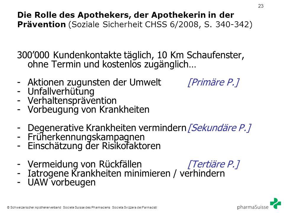 23 © Schweizerischer Apothekerverband Societe Suisse des Pharmaciens Societa Svizzera dei Farmacisti Die Rolle des Apothekers, der Apothekerin in der Prävention (Soziale Sicherheit CHSS 6/2008, S.