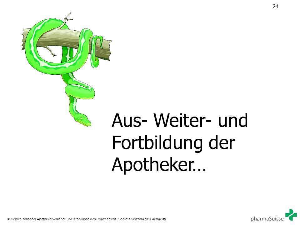 24 © Schweizerischer Apothekerverband Societe Suisse des Pharmaciens Societa Svizzera dei Farmacisti Aus- Weiter- und Fortbildung der Apotheker…