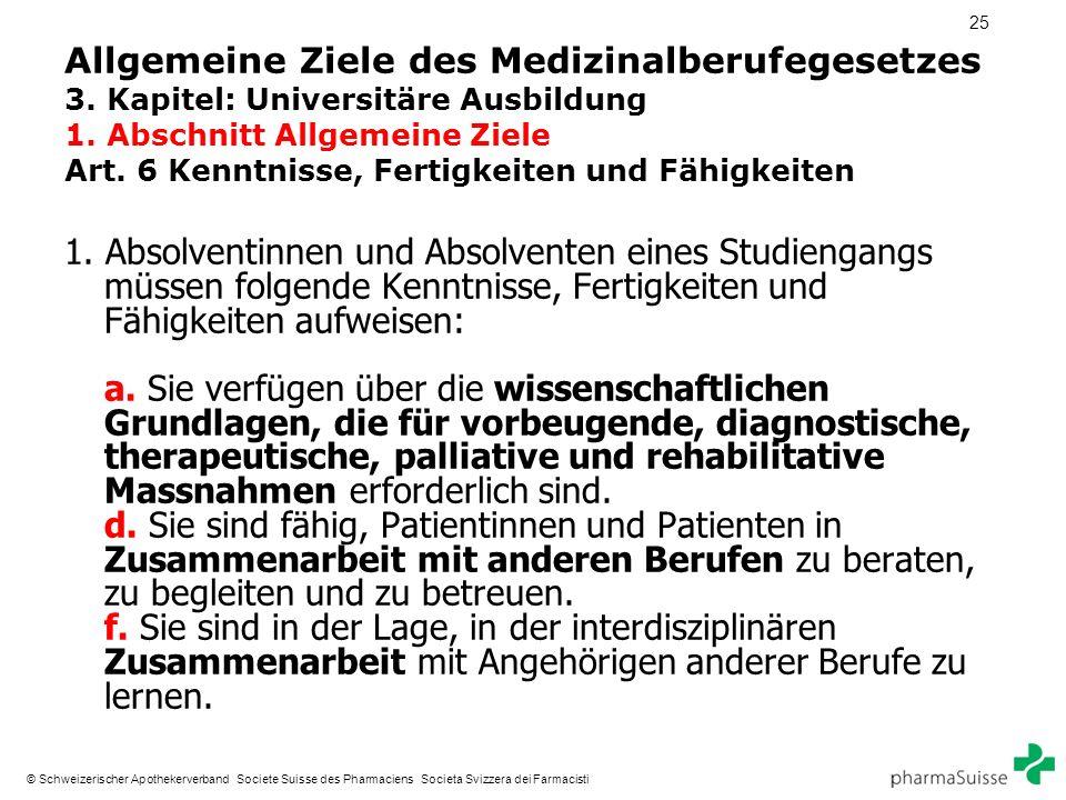 25 © Schweizerischer Apothekerverband Societe Suisse des Pharmaciens Societa Svizzera dei Farmacisti Allgemeine Ziele des Medizinalberufegesetzes 3.