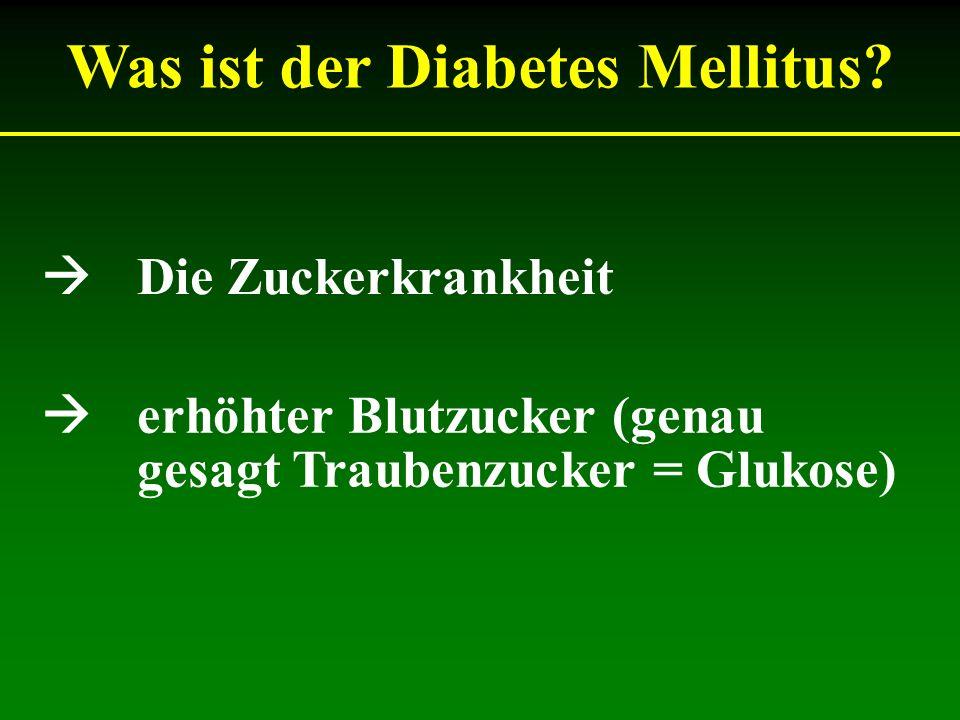 Was ist der Diabetes Mellitus? Die Zuckerkrankheit erhöhter Blutzucker (genau gesagt Traubenzucker = Glukose)