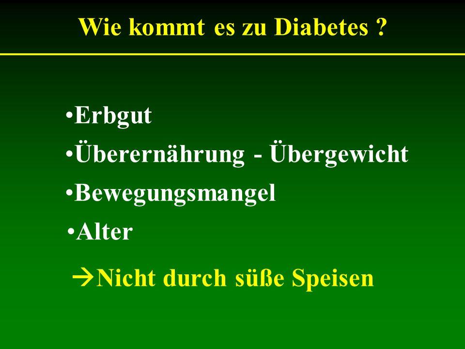 Nicht durch süße Speisen Wie kommt es zu Diabetes ? Erbgut Überernährung - Übergewicht Bewegungsmangel Alter