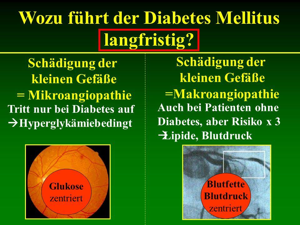 Schädigung der kleinen Gefäße = Mikroangiopathie Schädigung der kleinen Gefäße =Makroangiopathie Tritt nur bei Diabetes auf Hyperglykämiebedingt Auch