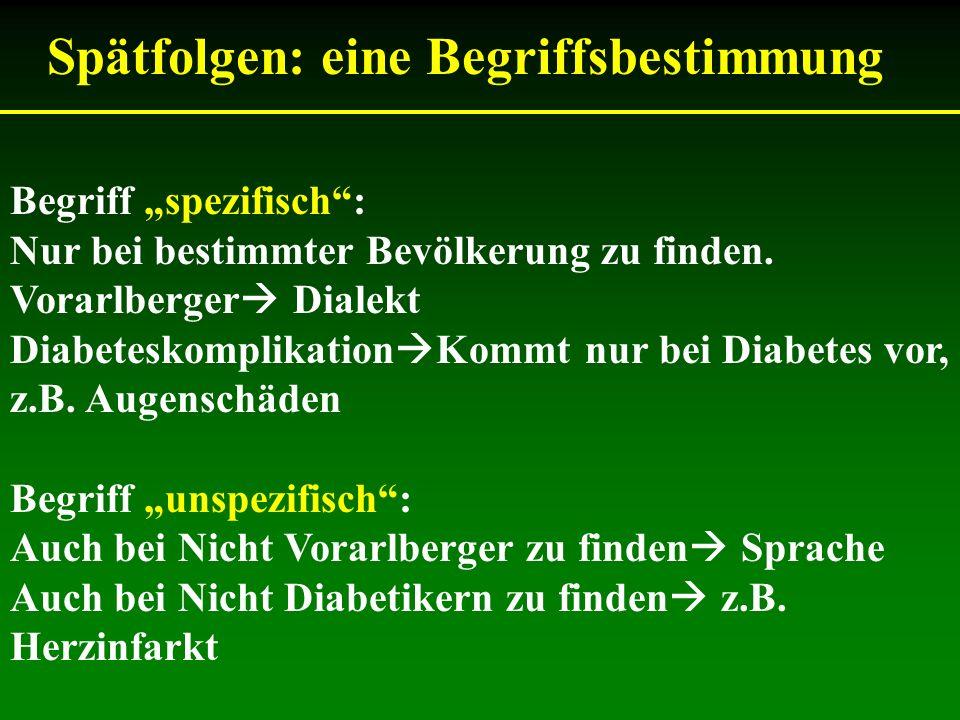 Begriff spezifisch: Nur bei bestimmter Bevölkerung zu finden. Vorarlberger Dialekt Diabeteskomplikation Kommt nur bei Diabetes vor, z.B. Augenschäden