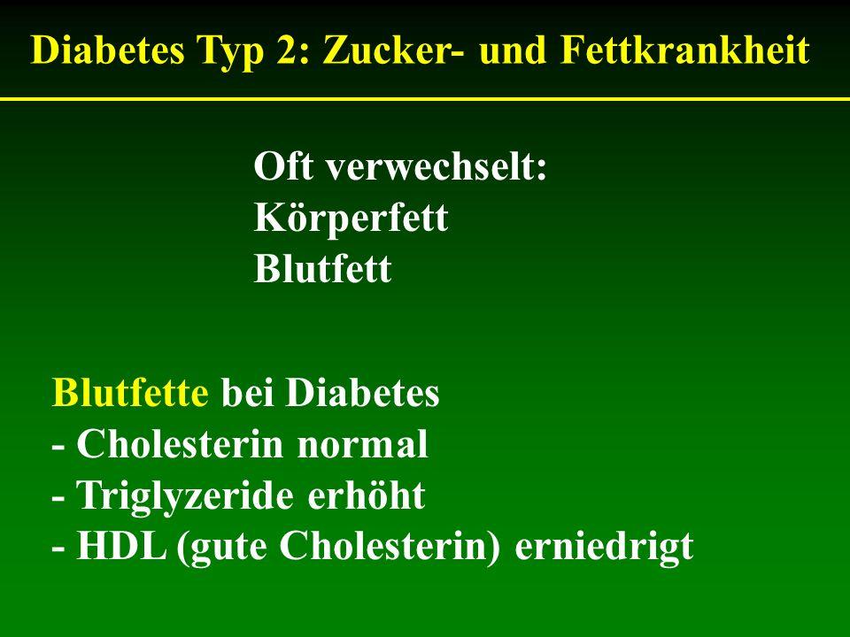 Oft verwechselt: Körperfett Blutfett Blutfette bei Diabetes - Cholesterin normal - Triglyzeride erhöht - HDL (gute Cholesterin) erniedrigt Diabetes Ty