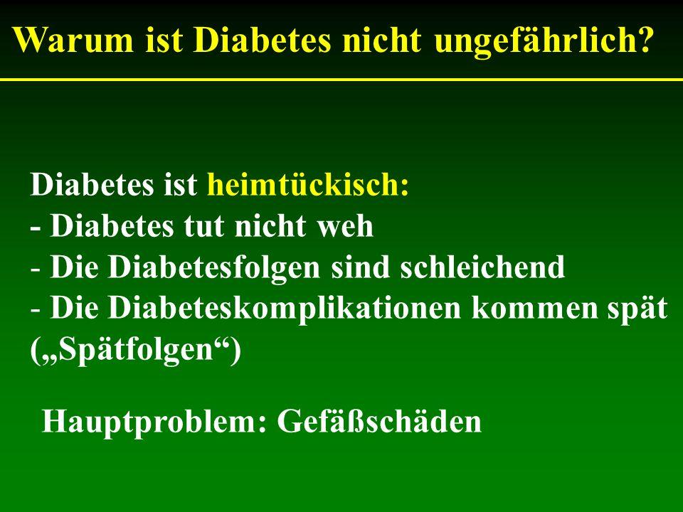 Warum ist Diabetes nicht ungefährlich? Diabetes ist heimtückisch: - Diabetes tut nicht weh - Die Diabetesfolgen sind schleichend - Die Diabeteskomplik