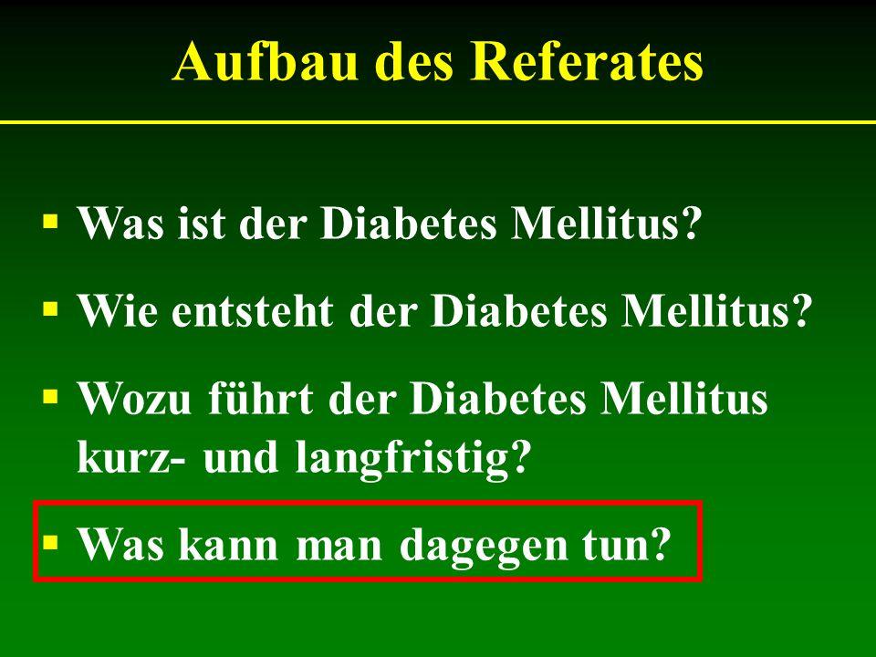 Was ist der Diabetes Mellitus? Wie entsteht der Diabetes Mellitus? Wozu führt der Diabetes Mellitus kurz- und langfristig? Was kann man dagegen tun? A