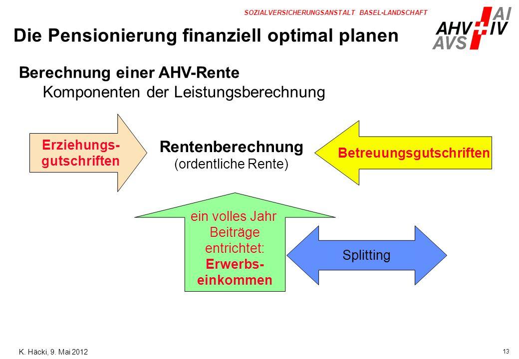 13 SOZIALVERSICHERUNGSANSTALT BASEL-LANDSCHAFT Berechnung einer AHV-Rente Komponenten der Leistungsberechnung Erziehungs- gutschriften Betreuungsgutsc