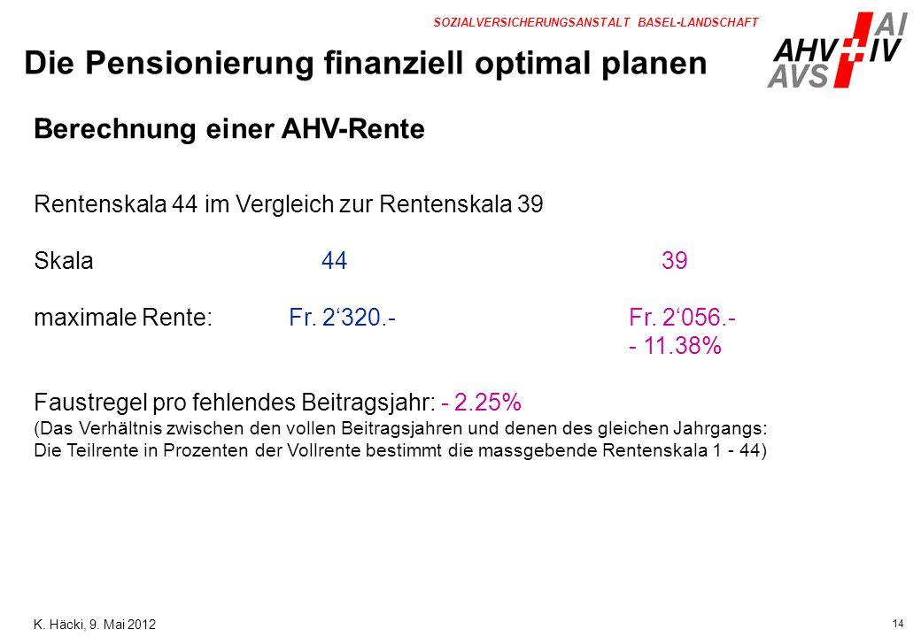 14 SOZIALVERSICHERUNGSANSTALT BASEL-LANDSCHAFT Berechnung einer AHV-Rente Rentenskala 44 im Vergleich zur Rentenskala 39 Skala 44 39 maximale Rente:Fr