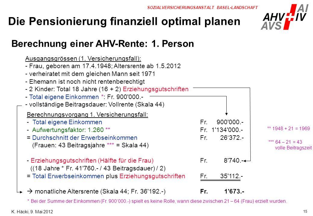 15 SOZIALVERSICHERUNGSANSTALT BASEL-LANDSCHAFT Ausgangsgrössen (1. Versicherungsfall): - Frau, geboren am 17.4.1948; Altersrente ab 1.5.2012 - verheir