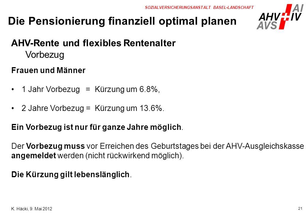 21 SOZIALVERSICHERUNGSANSTALT BASEL-LANDSCHAFT AHV-Rente und flexibles Rentenalter Vorbezug Frauen und Männer 1 Jahr Vorbezug = Kürzung um 6.8%, 2 Jah