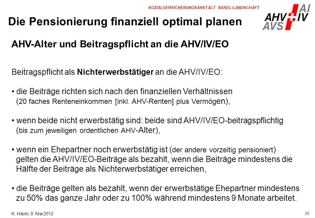 25 SOZIALVERSICHERUNGSANSTALT BASEL-LANDSCHAFT AHV-Alter und Beitragspflicht an die AHV/IV/EO Beitragspflicht als Nichterwerbstätiger an die AHV/IV/EO