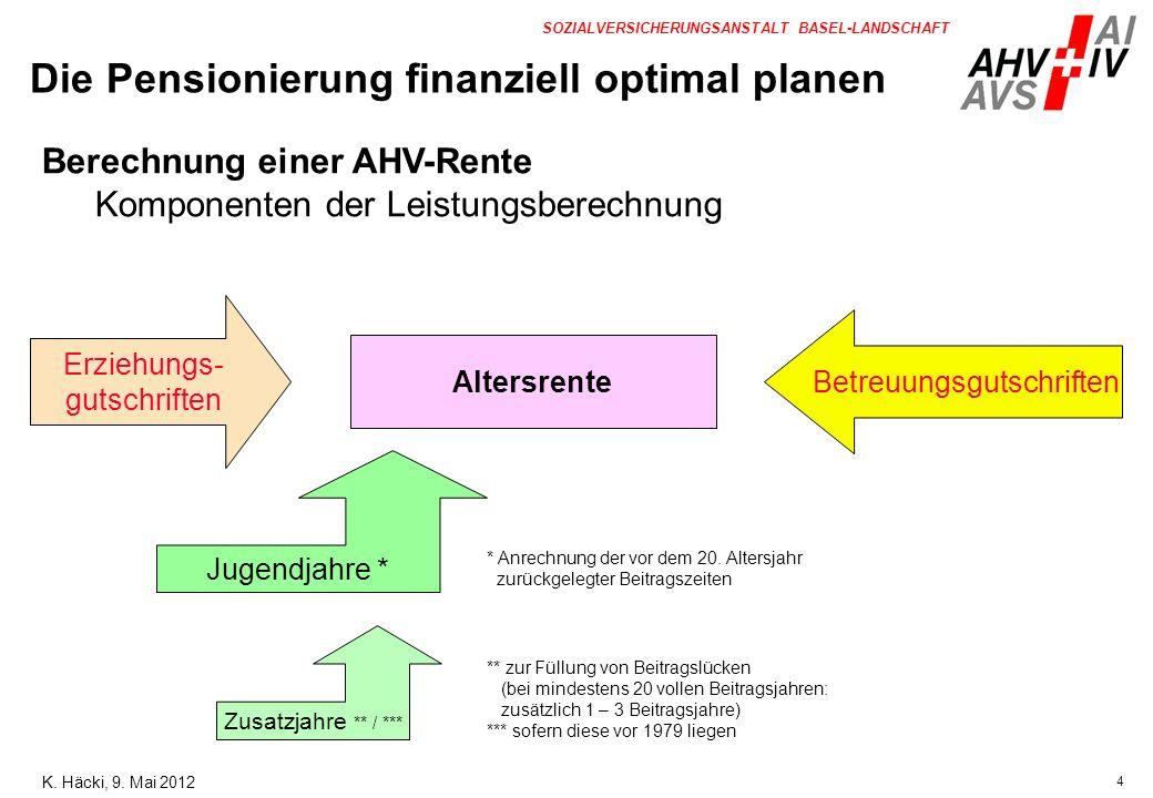 5 SOZIALVERSICHERUNGSANSTALT BASEL-LANDSCHAFT Altersrente Kinderrente (40%) Witwenrente (80%) Witwerrente (80%) Waisenrente (40%) AHV-Rente Leistungsarten K.