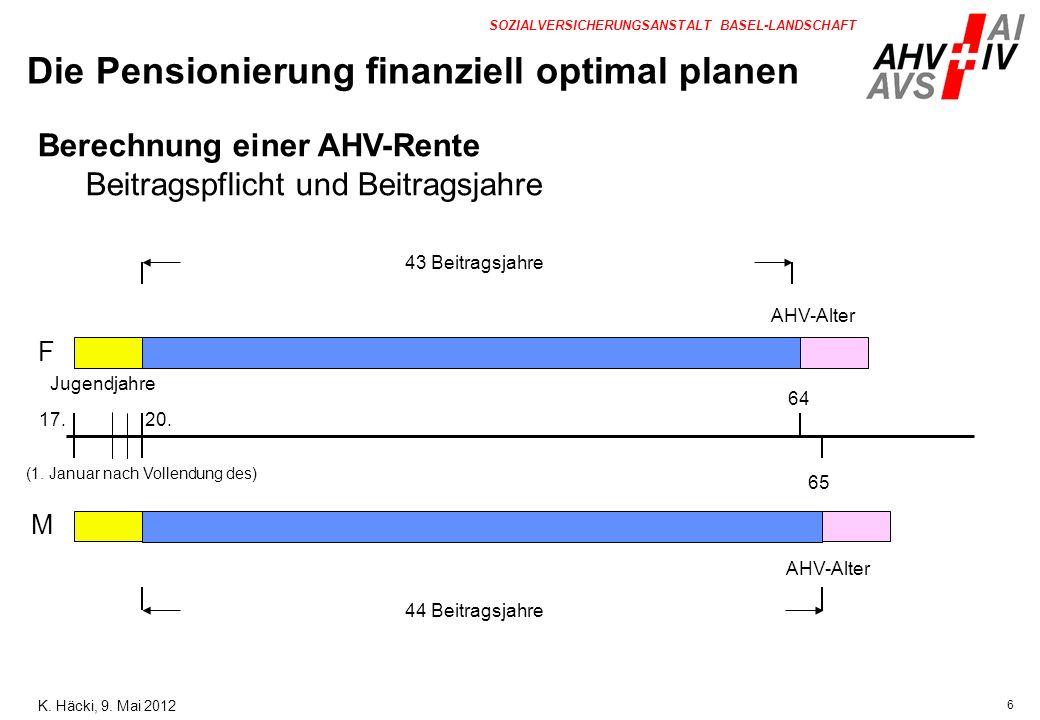 6 SOZIALVERSICHERUNGSANSTALT BASEL-LANDSCHAFT 20.17. 64 65 F Jugendjahre M AHV-Alter Berechnung einer AHV-Rente Beitragspflicht und Beitragsjahre 43 B