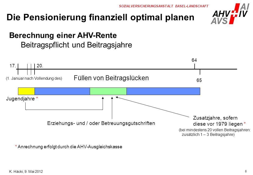 19 SOZIALVERSICHERUNGSANSTALT BASEL-LANDSCHAFT Berechnungsvorgang: (Fortsetzung) FrauMann - Durchschnitt der ErwerbseinkommenFr.