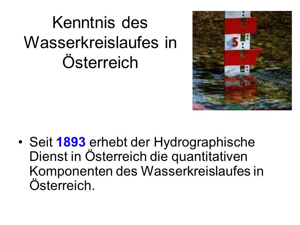 Kenntnis des Wasserkreislaufes in Österreich Seit 1893 erhebt der Hydrographische Dienst in Österreich die quantitativen Komponenten des Wasserkreisla