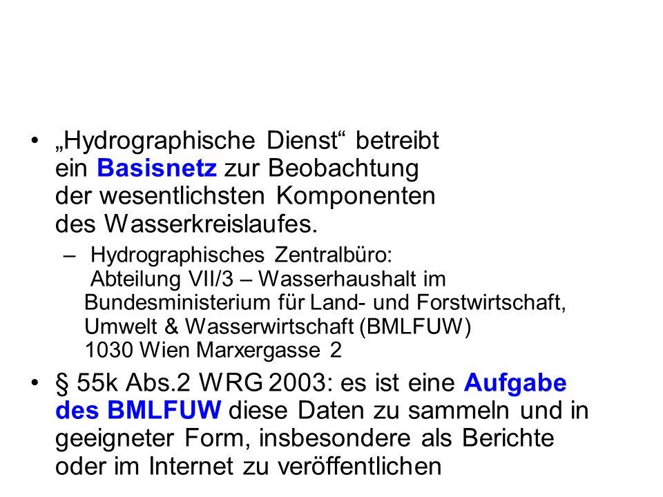 Wasserbilanz Niederschlag Verdunstung Zu- und Abfluss (Wasserstand und Abfluss, Flüsse, Seen, Grundwasser und Quellen) Luft- und Wassertemperatur, gesamte Fläche des österreichischen Bundesgebietes (83.853 km²) Hauptkomponenten zur Erstellung der Wasserbilanz