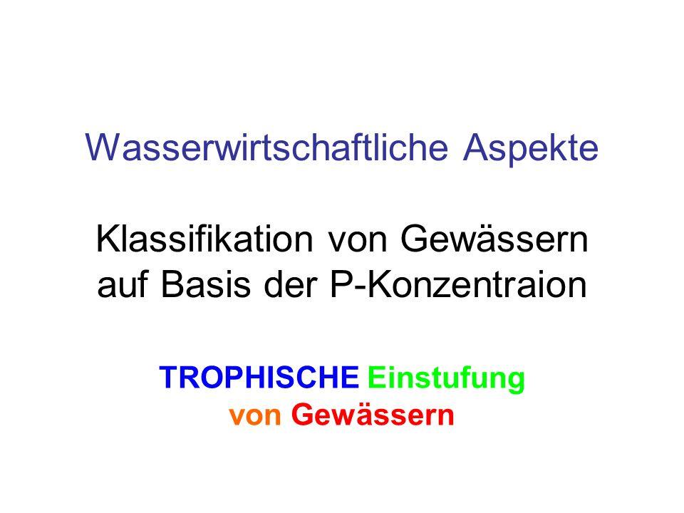Wasserwirtschaftliche Aspekte Klassifikation von Gewässern auf Basis der P-Konzentraion TROPHISCHE Einstufung von Gewässern
