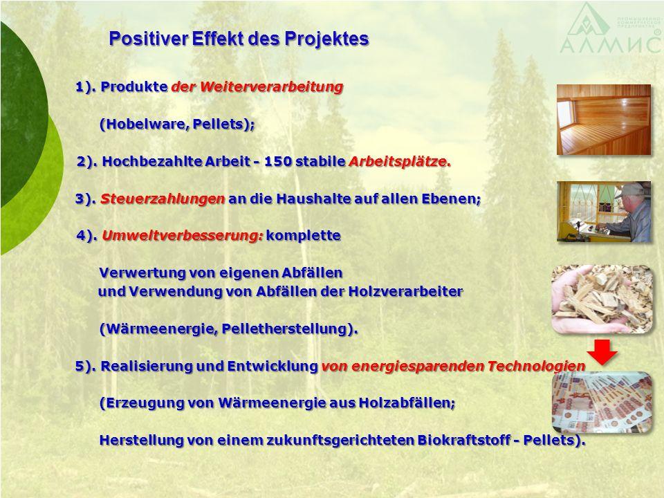 Positiver Effekt des Projektes 1). Produkte der Weiterverarbeitung 1). Produkte der Weiterverarbeitung (Hobelware, Pellets); (Hobelware, Pellets); 2).